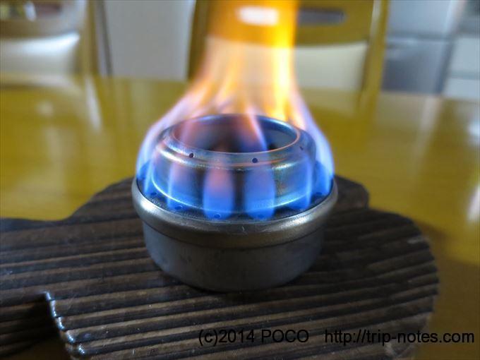 アルコールバーナーとメスティンで炊飯_本燃焼