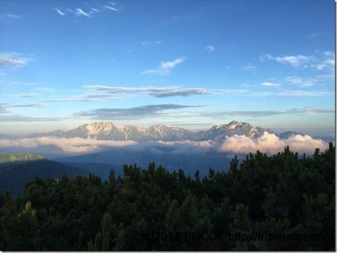 鹿島槍ヶ岳方面から眺める剱岳