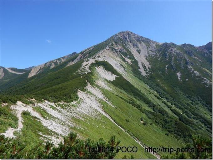 三俣山荘から鷲羽岳の稜線