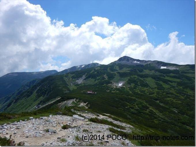 鷲羽岳下山