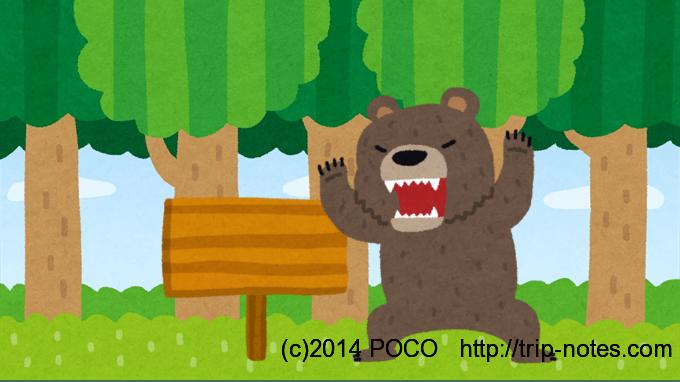 熊が看板を襲う