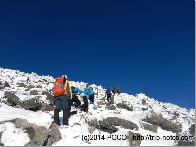 蓼科山山頂付近 雪山登山