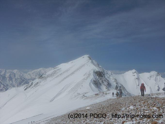 唐松岳頂上山荘からみえる唐松岳