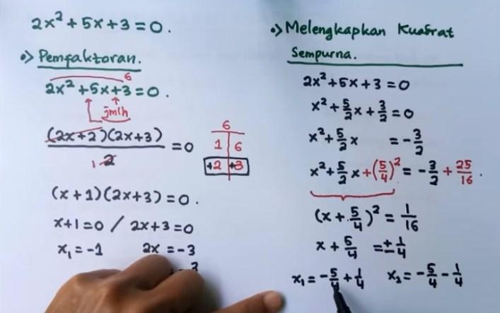 Tentukan akar-akar persamaan kuadrat x2 - 8x + 12 = 0 dengan menggunakan metode berikut!