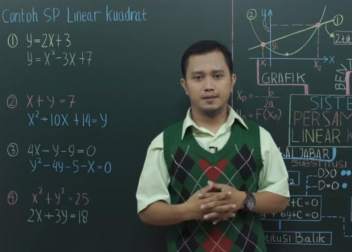 Solusi dari sistem persamaan linier y=2x-5 dan kuadrat y=x2-3x+1 adalah