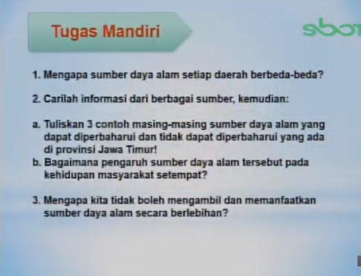 Tuliskan 3 contoh masing-masing sumber daya alam yang dapat diperbaharui dan tidak dapat diperbaharui yang ada di provinsi Jawa Timur!