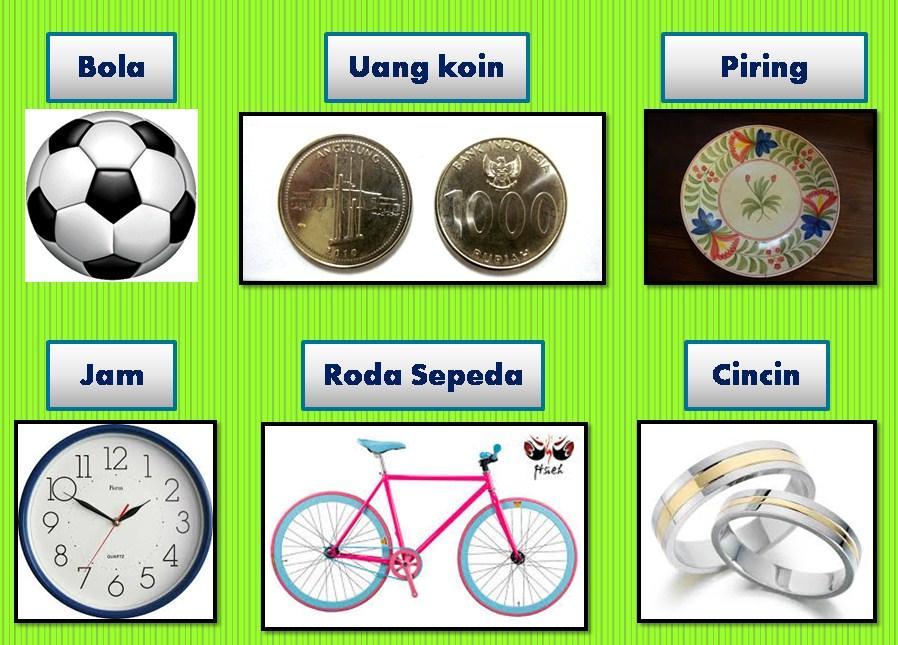 Berilah 2 contoh benda yang permukaannya berbentuk Lingkaran, Segiempat, Segitiga!