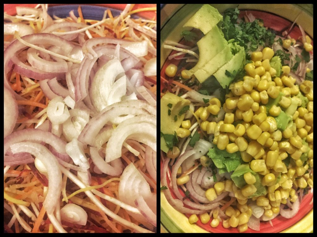 mixed salad with corn avocado and onions