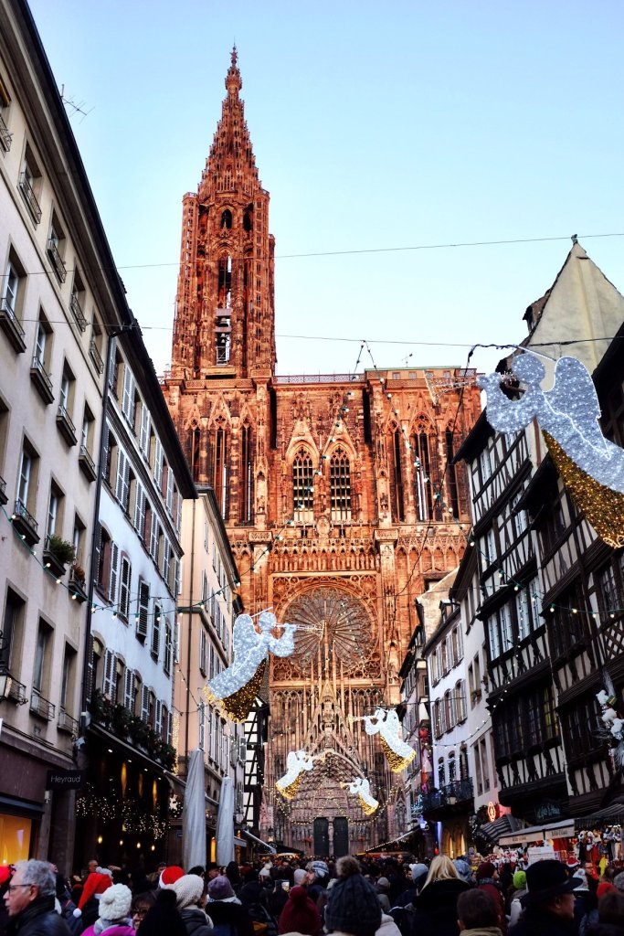 Strasbourg Cathedral street view Christmas market