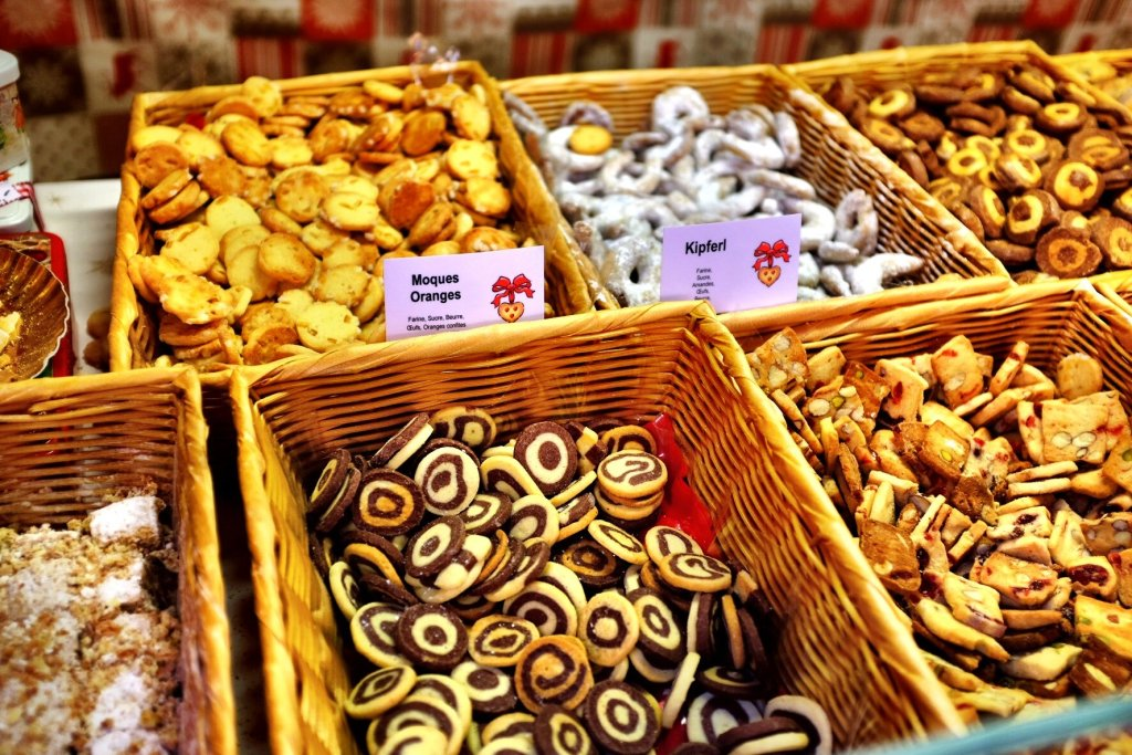 Christmas cookies for sale at the Strasbourg Christmas markets