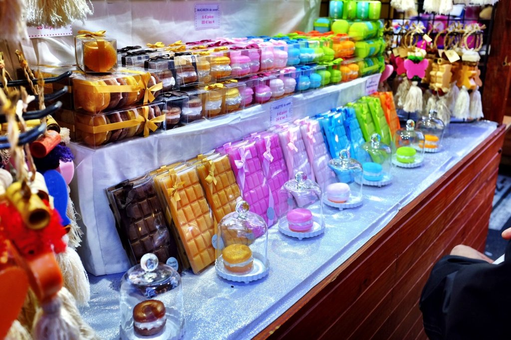 Novelty colooured soaps in the style of chocolate bars on sale at the Strasbourg Christmas markets