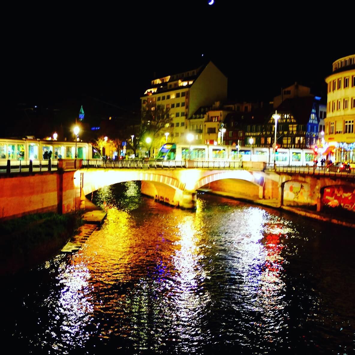 Illuminated Bridge Strasbourg Christmas Markets