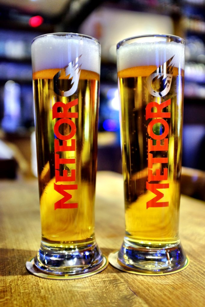 Two glasses of French beer called Meteor. We had them while we were at the Christmas markets in Strasbourg