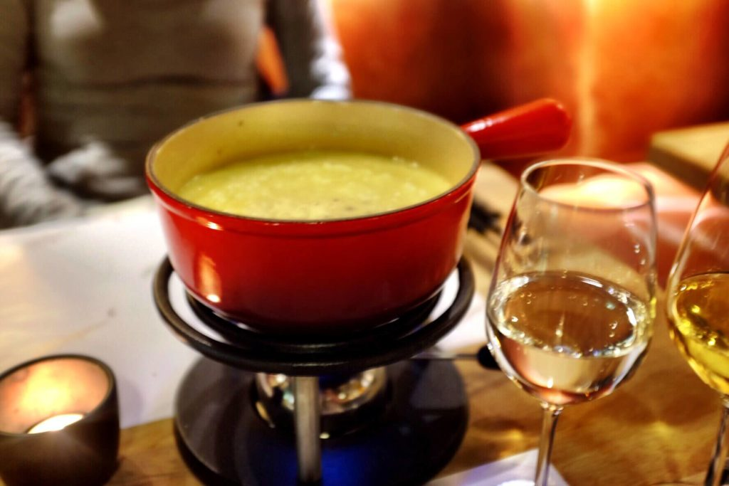 Traditional Swiss cheese fondue