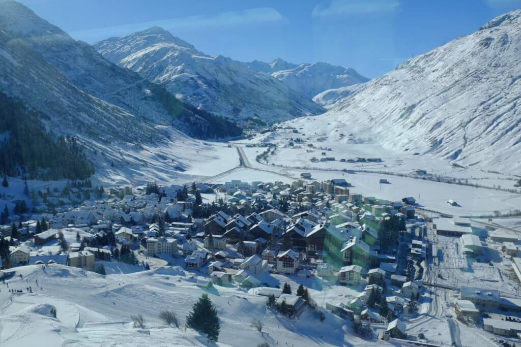 Andermatt as seen from the Glacier Express