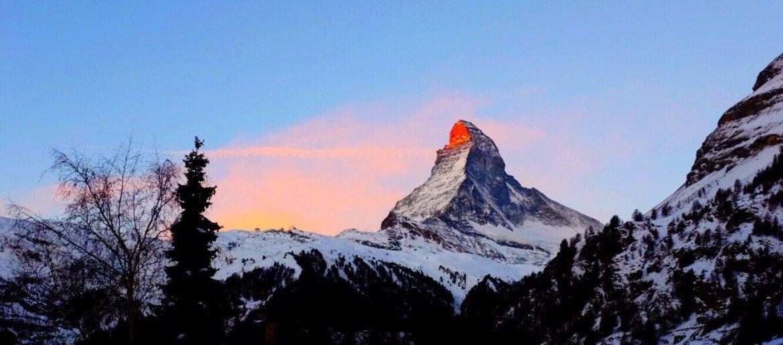 The Matterhorn illuminated by the sunrise in Zermatt