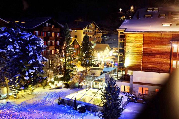 The view at night from our Hotel in Zermatt