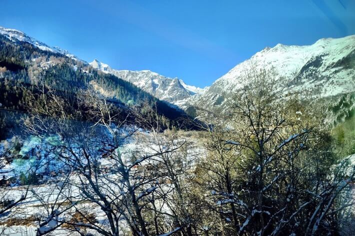 Trees in the foreground and some snowy mountains in the background. As seen from the Glacier Express
