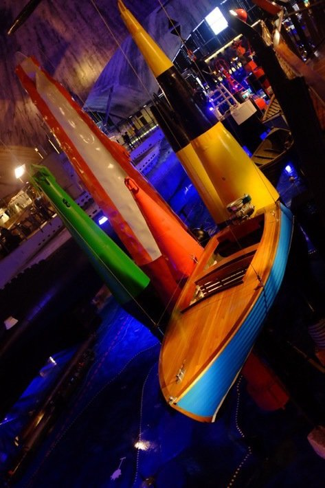 Boat and colorful boyes at the Seaplane Museum in Tallinn