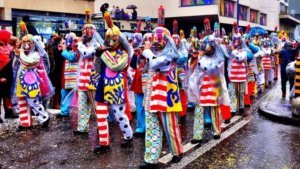 One of the colourful cliques, or musical groups, at the Basler Fasnacht