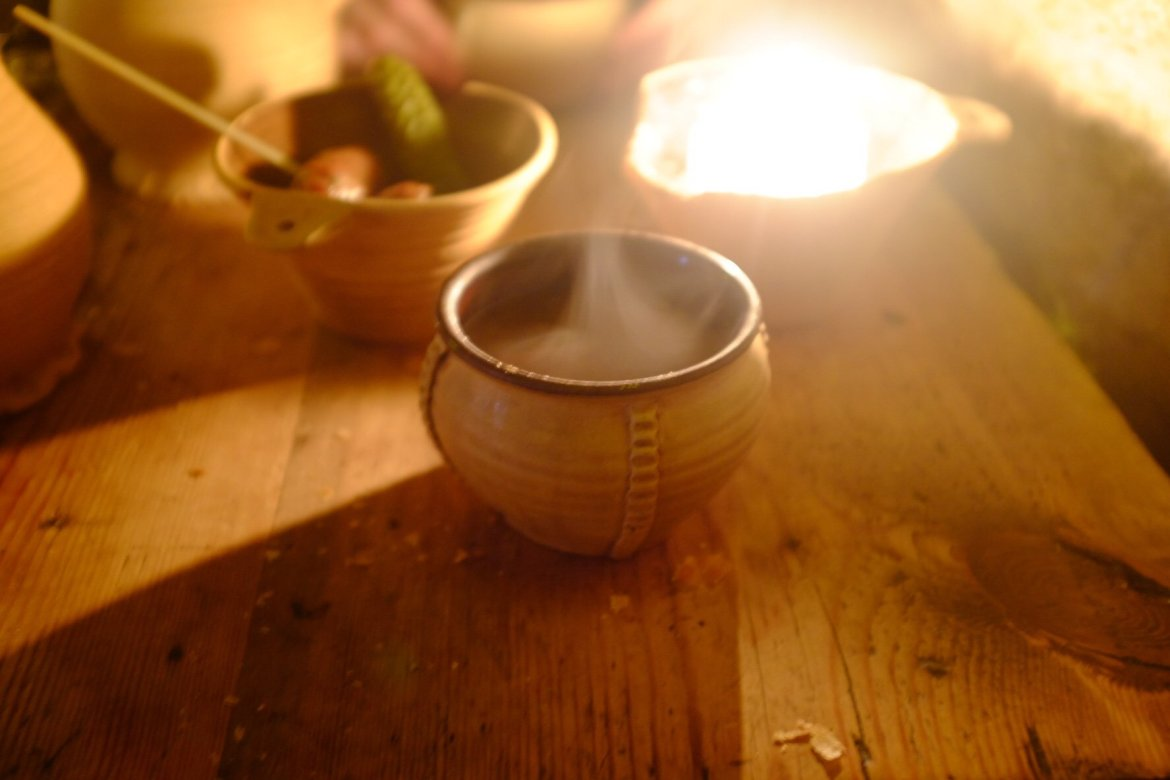 Steam on a ceramic bowl filled with the most delicious elk soup in the world. Found in the Draakon in Tallinn
