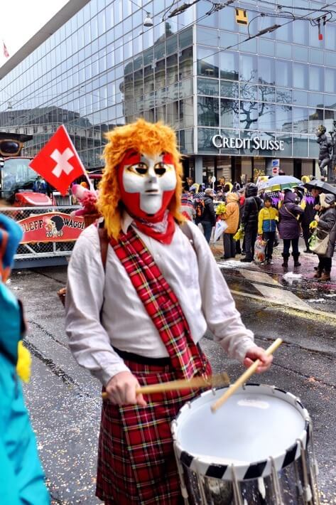 Swiss scottish drummer at the Basler Fasnacht
