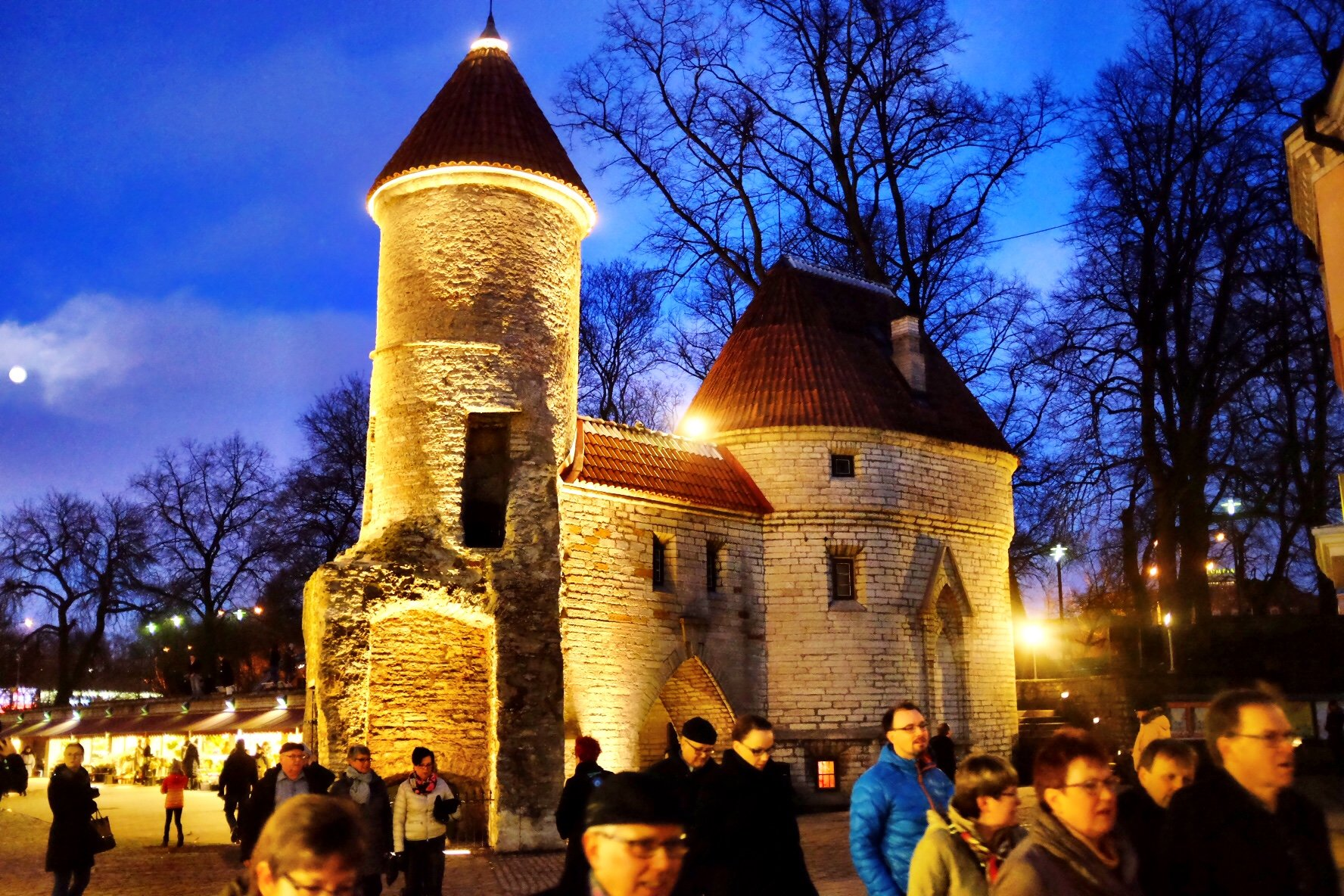 Frontgate of Tallinn at night illuminated with some lights