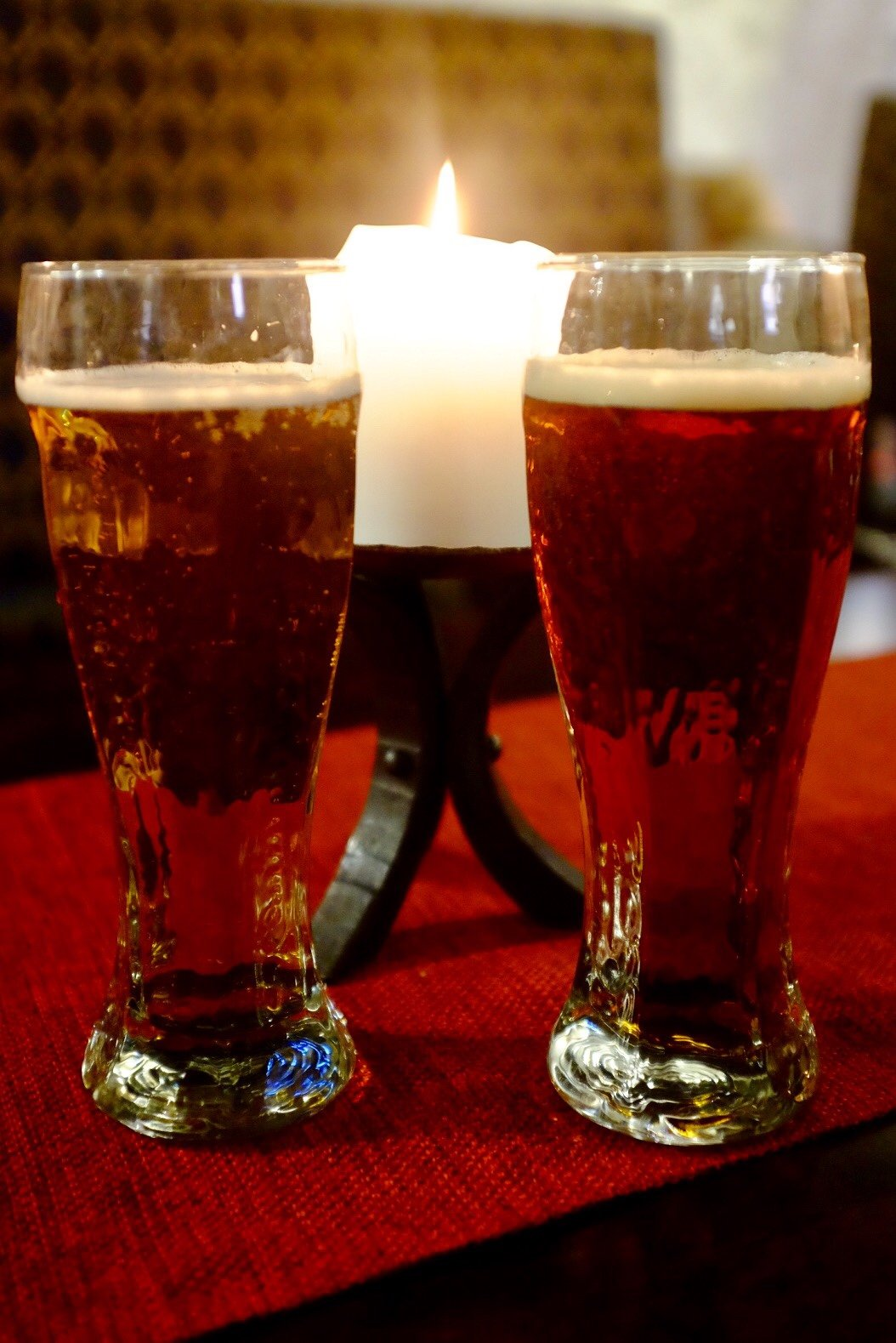 A pint of honey beer and a pint of lager brewed by a old recipe in the Peppersack in Tallinn