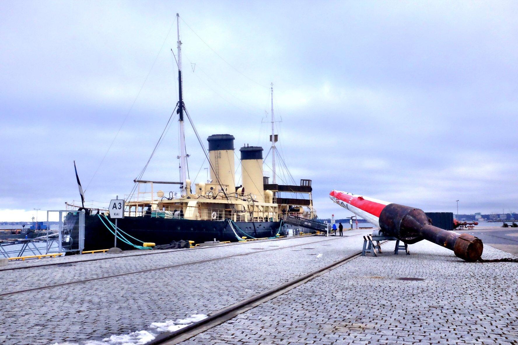 Icebreaker with boye exhibited at the Seaplane Museum in Tallinn