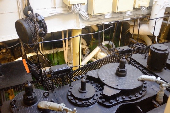 Tallinn city break Mashine room of the Icebreaker, who's exhibited at the Seaplane Museum in Tallinn, from above