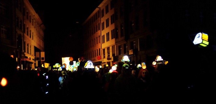 Lanterns at the first parade of Basel Fasnacht carnival, the Morgestraich