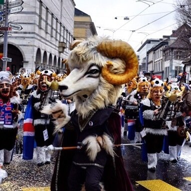 Sheep masked conductor of a Guggenmusik band