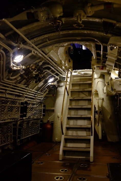 Stairs to the submarine at the Seaplane Museum in Tallinn