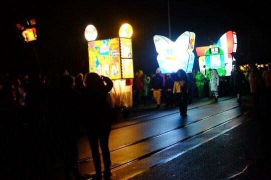 Three lanterns at the Morgestraich, the first parade of Basel Fasnacht