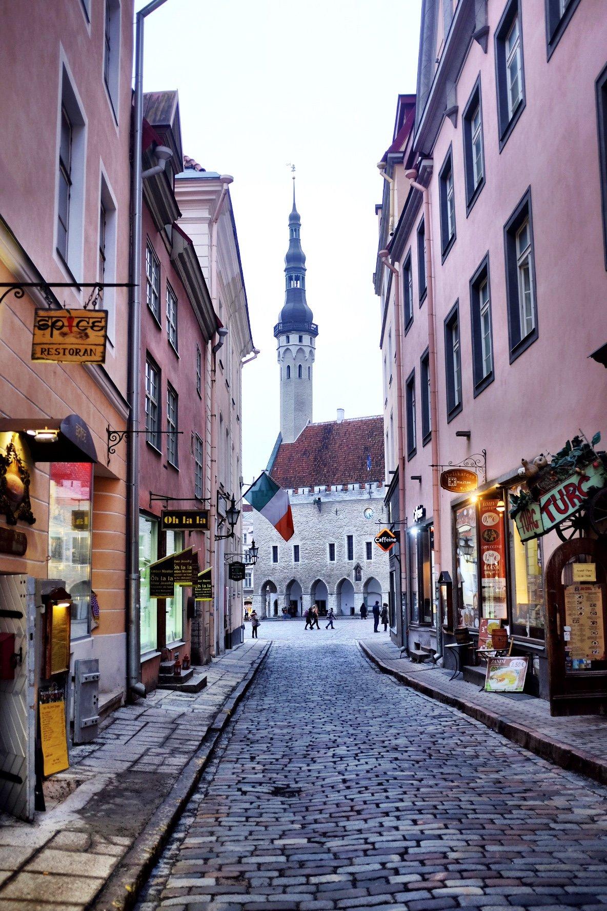 Town Hall of Tallinn seen from a narrow alley