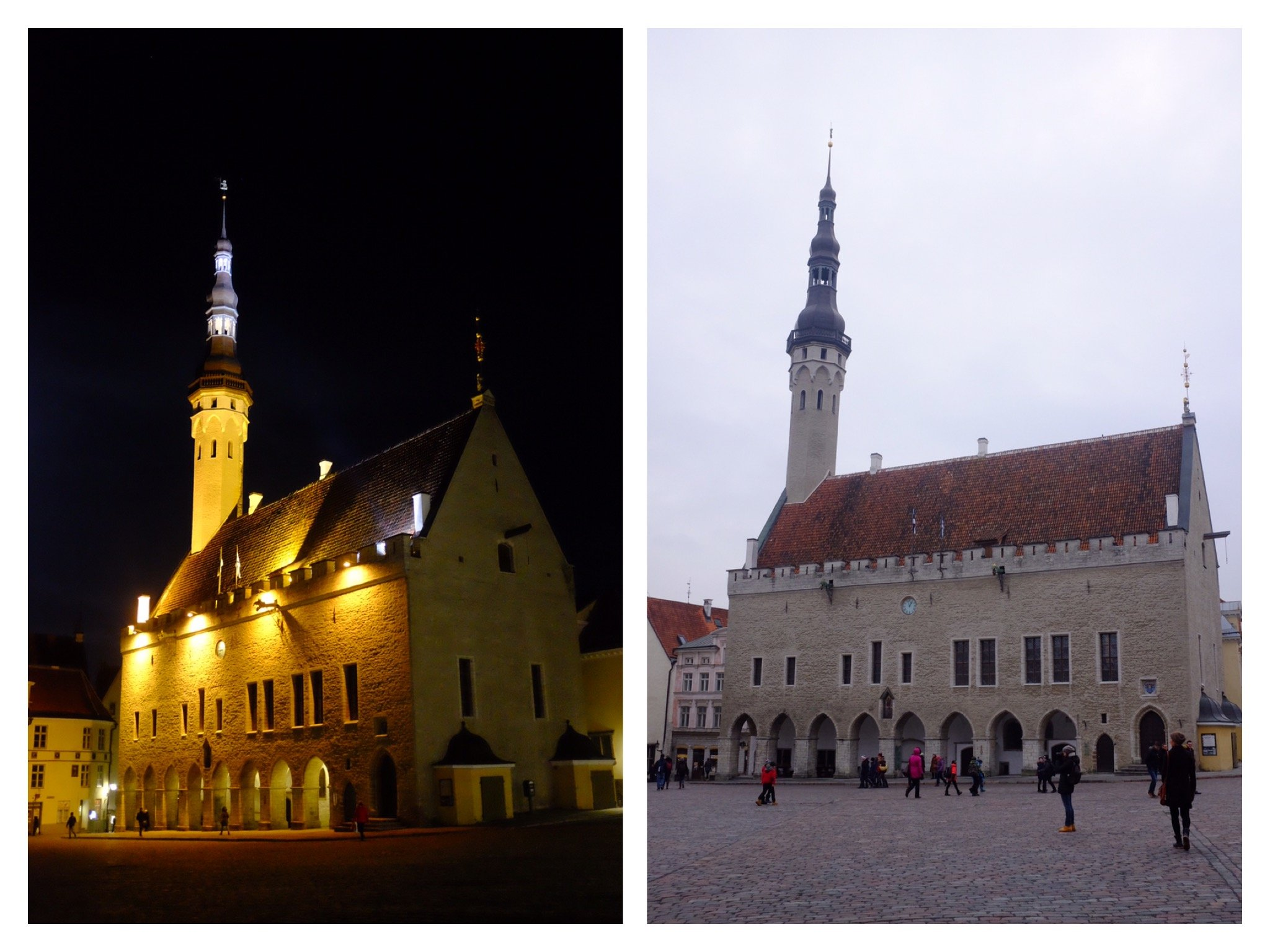 Town hall in Tallinn at night and at day