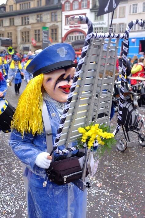 Masked Xylophone player at the Basler Fasnacht