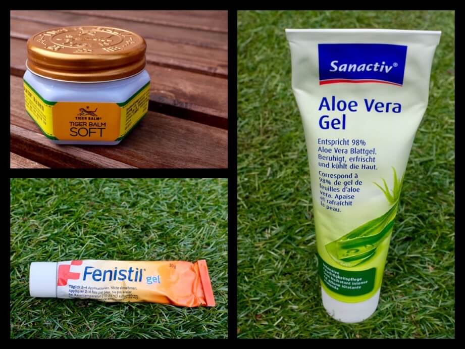 Fenistil Aloe Vera Gel and Tiger Balm act not as insect repellent but bring some release from the itch once you've been bitten.