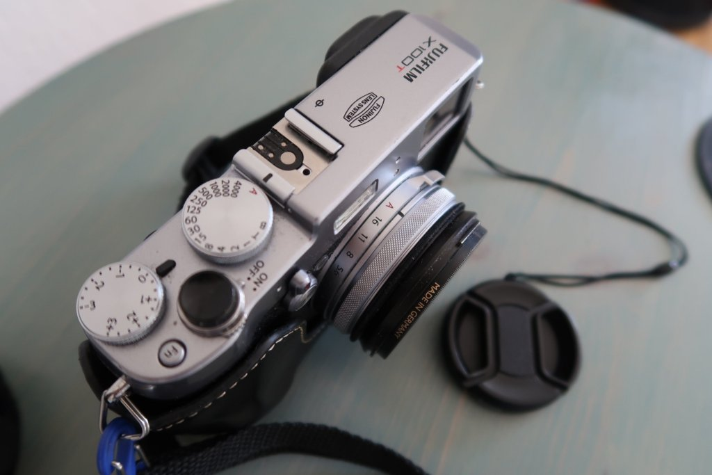 Fujifilm Finepix X100T camera top view best cameras for travel photography