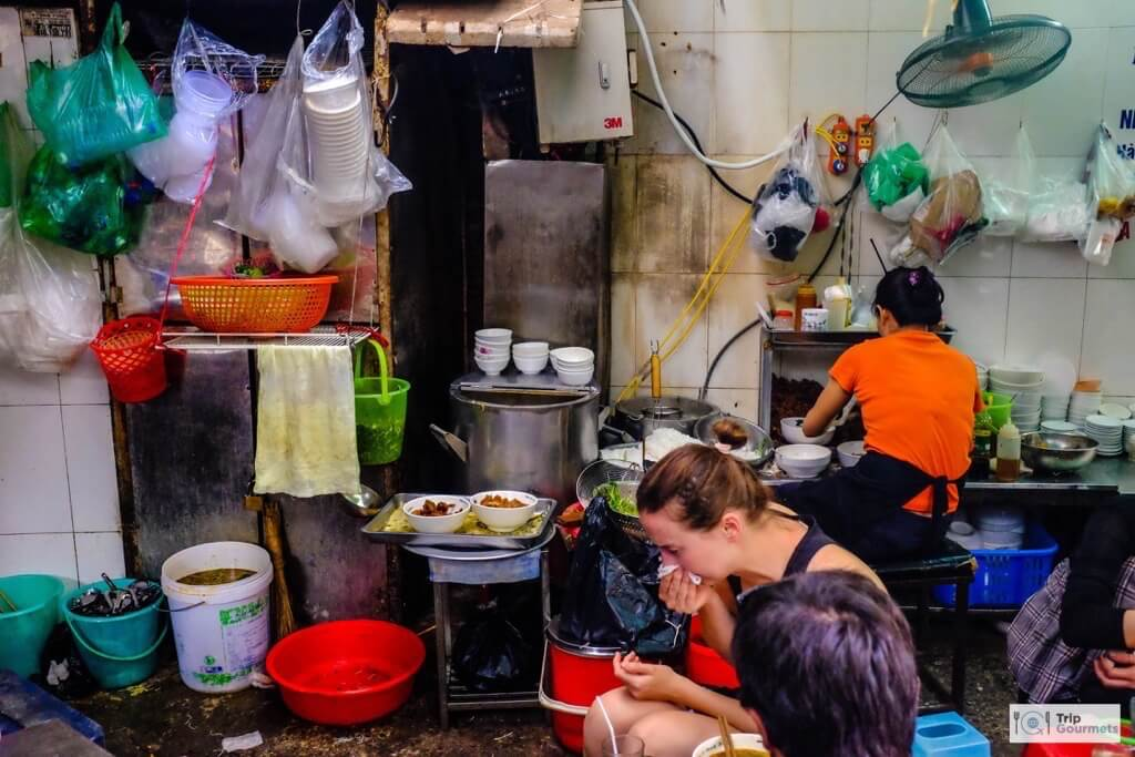 Food in Hanoi Old Quarter kitchen street
