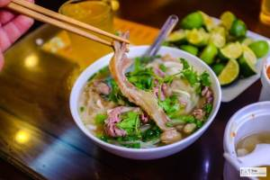 Food in Hanoi Old Quarter pho 10 bacon soup vietnamese