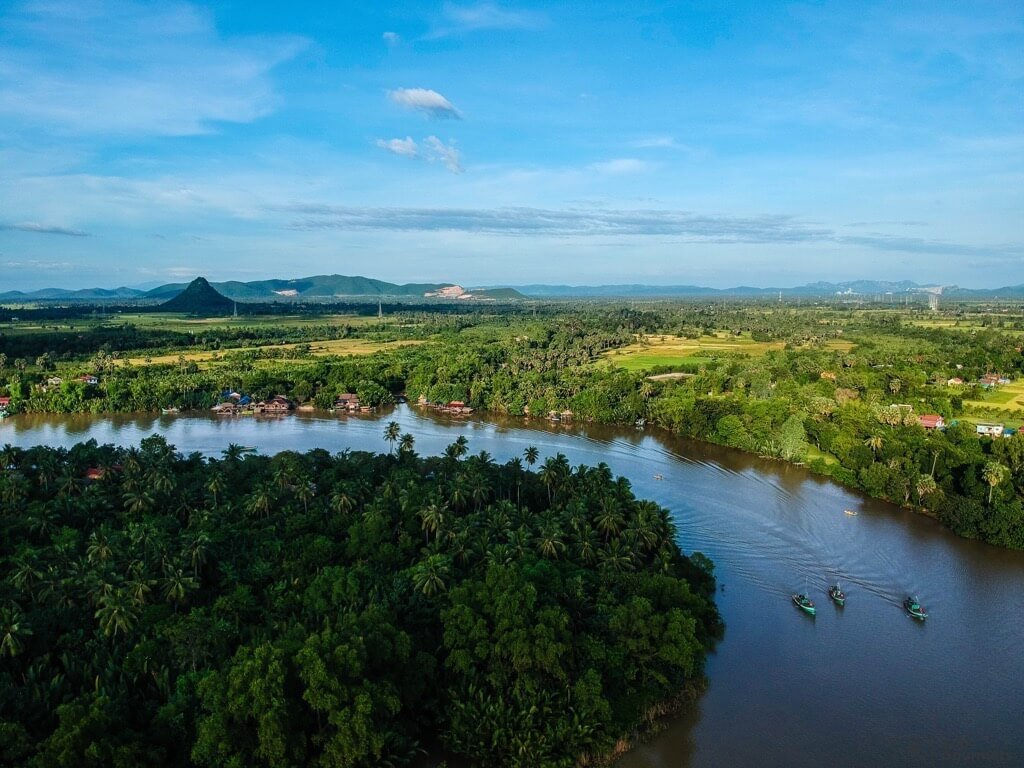 Things to do in Kampot - DJI Spark Kampot River cambodia drone