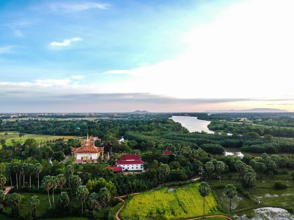 Things to do in Kampot - DJI Spark Toek Vil Pagoda cambodia drone