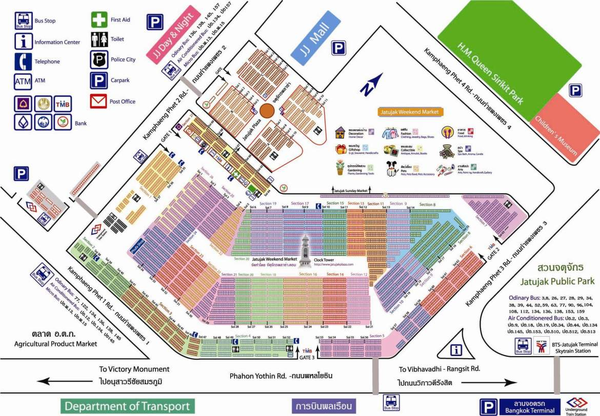 Map of Chatuchak weekend market, one of the best markets in Bangkok
