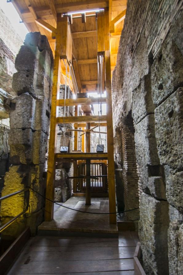 sistema de poleas Coliseo Romano