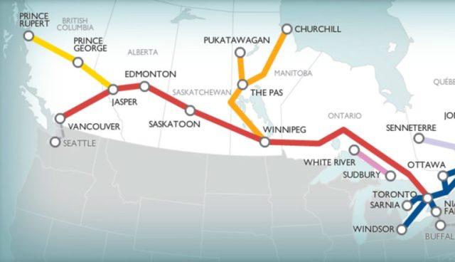 mapa de la ruta tren canadian