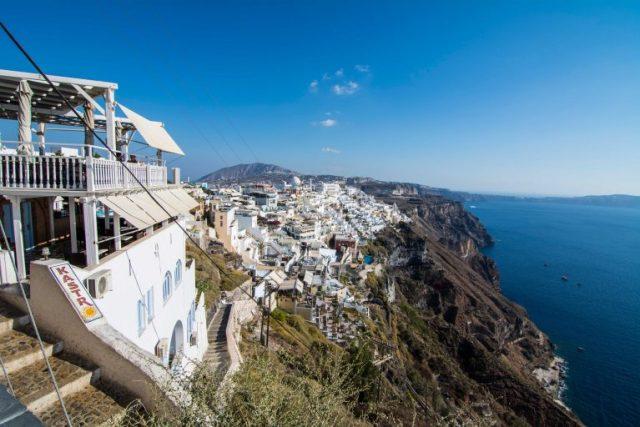 Fira desde el funicular Santorini