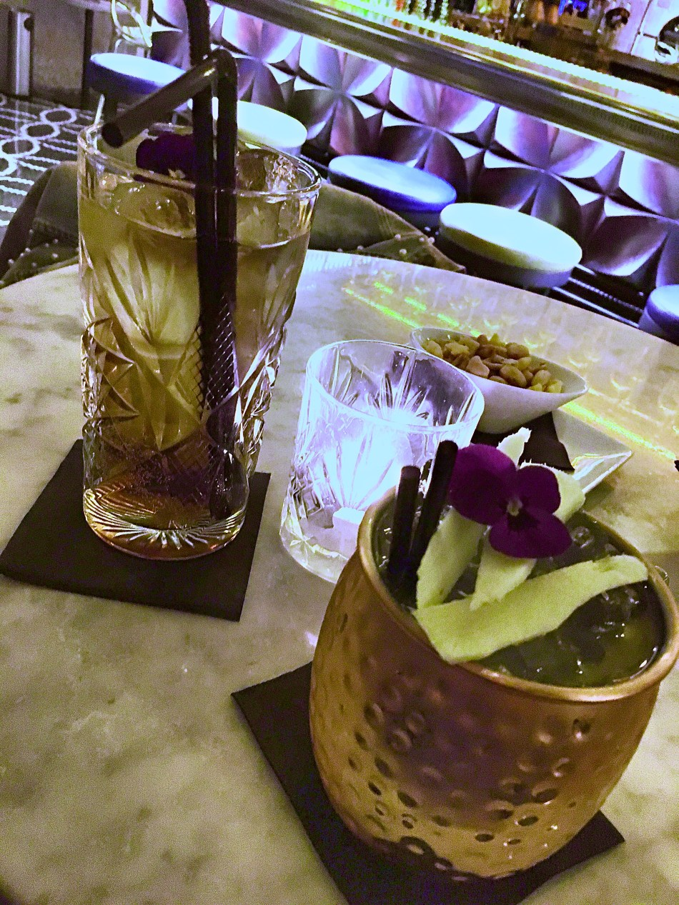 A 'Moscow Mule' and a 'Mai Tai' cocktail