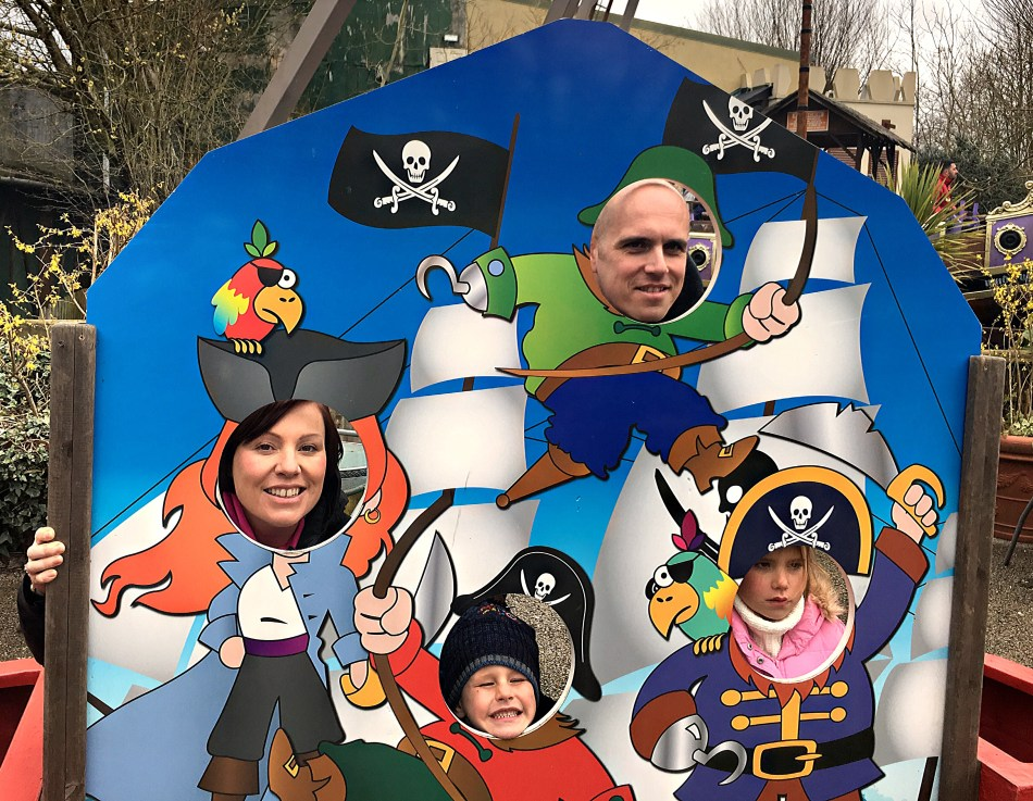Gullivers World in Milton Keynes with an unhappy pirate