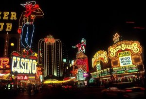 Las Vegas Strip at night. You can find some of the best sports bars in Las Vegas on the Strip
